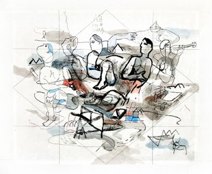 Bruno Patyn - Rhombus n°2 - techniques de la peinture traditionnelle chinoise sur papier 34 x 41 cm