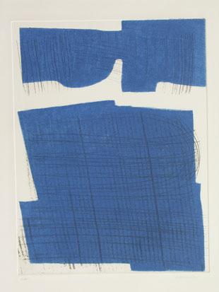 Jean-Claude Thuillier, Sillons sur forme bleue, gravure sur zinc, 2 plaques, EA, 63x52 cm