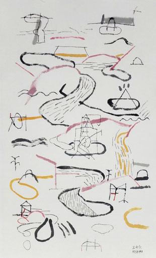 Bruno Patyn - Cosmogony nº 36B - techniques de la peinture traditionnelle chinoise sur papier 39 × 24 cm