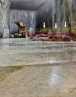 Unterirdischer Marmorsteinbruch in der Toskana