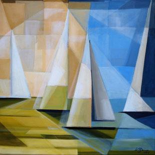 Segelboote, Acryl auf Leinwand, 60 x 60 cm, 2017