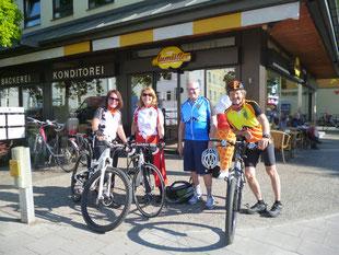 Die Radreise von München nach Ancona. Start erfolgt bei der Bäckerei Aumüller.