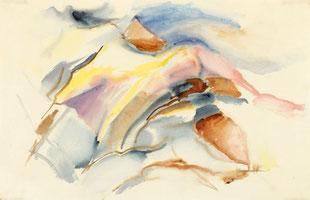 "Leopold Ganzer, ""Berggruppe"", 1966, Aquarell auf Papier, 32 x 50 cm"
