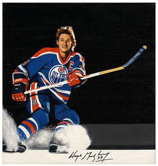 Wayne Gretzky, Öl, 20x42cm, original signiert
