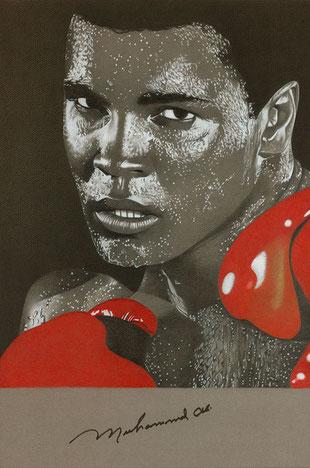 Muhammad Ali, Pastell, gerahmt, original signiert