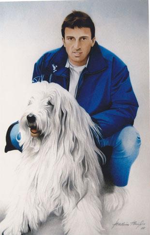 Mensch-Hund Portrait by Joachim Thiess, Fotorealist
