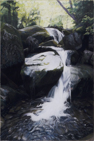 francois beaudry pastel and watercolor painting landscape cascade rocks trees via appalachia series 11