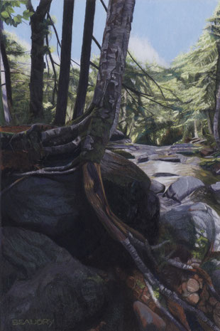 francois beaudry pastel and watercolor painting landscape water rocks trees via appalachia series 14