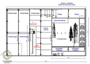 CAD-Planung für Inneneinteilung Einbaugarderobe,
