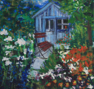 Allotment Shed painting - Sally-Anne Adams Artist