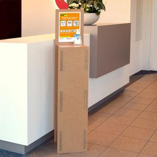 Kundenstopper 100% Karton Abstellen Desinfektionsmittel