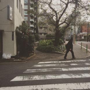 公園の端まで来ますと小さな交差点が見えます。左手の天ぷら屋さんと写真中央の大きな木の間の小道にお進みください。