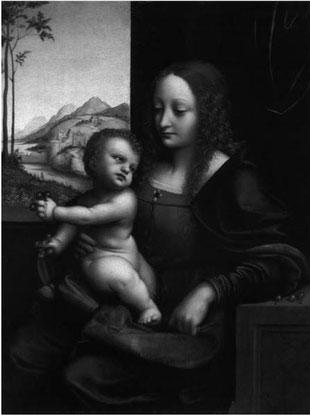 Fig. 4.  Giovanni Pedrini, dit Giampietrino, La Vierge  aux cerises, vers 1510, huile sur bois, Dallas, Collection  Robert M. Edsel