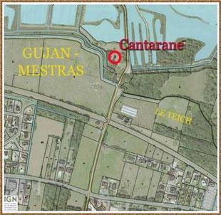Gujan-Mestras autrefois : carte Moulin de Cantarane ou Cantarrane ou Canteranne, Bassin d'Arcachon (carte, collection privée)