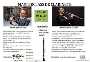 curso clarinete masterclass Paco Gil Francisco José David Bravo Casas Ibáñez