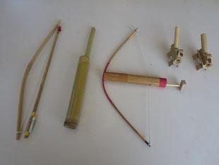 竹細工教室での竹細工品写真