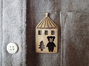Toy house and teddy bear  くまちゃんの家  Pendant top jewelry