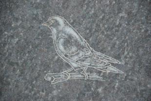 Gravur eines Vogel in Stein