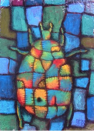 「色虫」アクリル絵の具、パネルSM