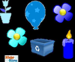 seis objetos de color azul