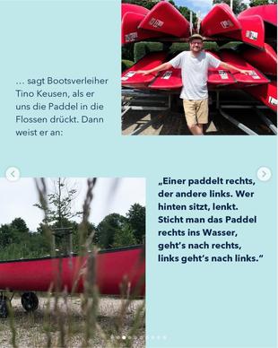 Ein Screenshot von einem Instagram Post auf dem ein Mann zu sehen ist, der vor Kanus steht
