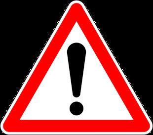 Nebenwirkungen von Lidrandpflege Produkten wie Blephagel Duo, Warnschild als Abbildung