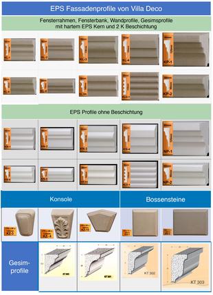 EPS Fassadenprofile mit/ohne Beschichtung