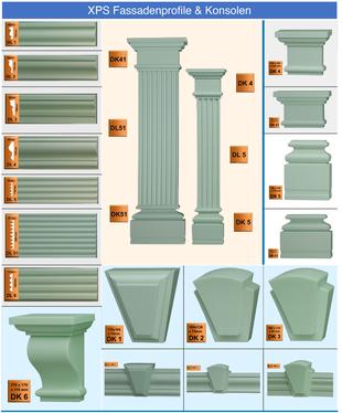 Fassadenprofile aus Polystyrol Hartschaum