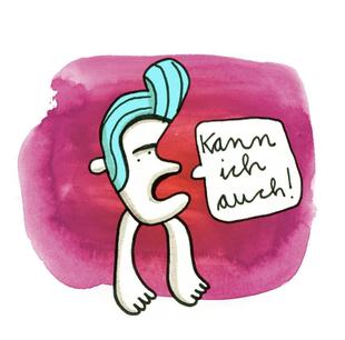 Illustration Kann ich auch, Zeichnung mit Tusche auf Papier von Frank Schulz Art, zeigt einen Kopffüßler vor Rot