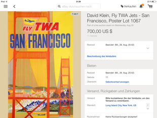 TWA - San Francisco - David Klein - Original Vintage Poster