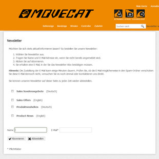 Movecat Newsletter bestellen und abbestellen