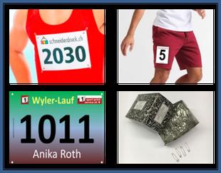 Stratnummern, Hosennummern, Sicherheitsnadeln, OL Karten