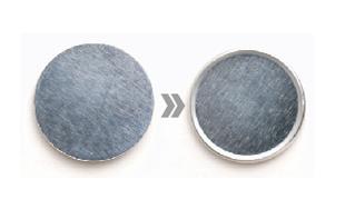 1円貨幣用アルミニウム円形にフチが付いた画像