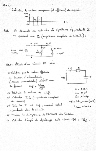 Tds Module Analyde De Circuits 224 Courant Alternatif Un