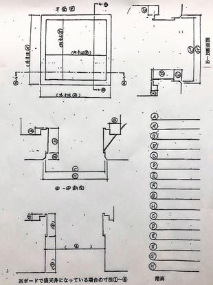 測定値を用紙に記入してメーカー 避難ハッチ