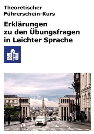 """Deckblatt des Heftes """"Erklärungen zu den Übungsfragen in Leichter Sprache""""."""