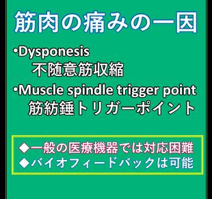 筋肉の痛みの一因には、dysponesisという不随意筋収縮と、筋紡錘トリガーポイントがあります。