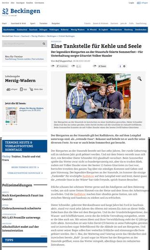 Bericht zum Sommerfest in der Saarbrücker Zeitung vom 18.08.2015