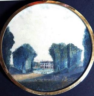 Louis Bélanger (1756-1816), Bagatelle façade arrière, gouache sur vélin, 7,9cm, daté (1787) et signé / Musée Boucher-de-Perthes