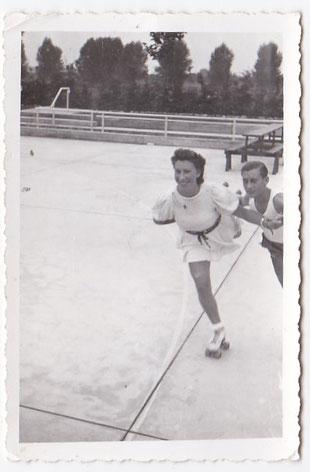 Heinz Knopp und Rosel Seebach im Training.