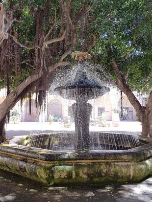 De fontein op het gemeentelijke plein van Marsala geeft, hoe kan het ook anders, een figuur weer de zich tegoed doet aan de vruchten van de wijngaard.