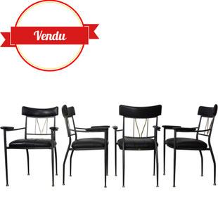 chaises métal,chaises assise en cuir,cuir naturel,chaises laiton et chrome,chaises belgochrom,chaises belgo chrom, belgochrome,decoene,design, années 80,grande qualité,majdeltier,accoudoirs,cuir noir