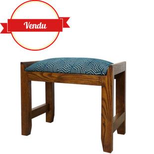 tabouret de piano,tabouret art déco,art déco,assise refaite,tissu bleu paon,motif géométrique,ancien 1920,majdeltier,lille,antiquités