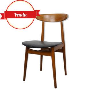 schaise scandinave vintage,chaise scandinave ancienne,chaise aileron,chaise design,chaise en teck,majdeltier,bois courbé,simili cuir,noir