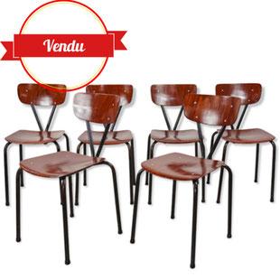 suite de 6 chaises pagholz,chaises indus vintage,chaise indus bois,laque,vernis,excellent état,pagwood,majdeltier,lille,design et vintage,industriel