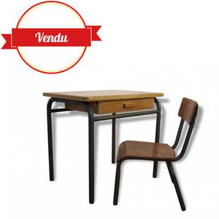 bureau,enfant,chaise,mullca,jacques,hitier,vintage,tubulaire,école,bois,ancien,tendance