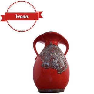vase,sol,xl,1950,1960,west germany,moderniste,Überlacker,cubiste,vintage,rouge,grand,scandinave