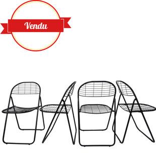 chaise pliante métal grillagé,chaise bertoia,chaise gain de place,chaises métal,métal filaire,chaise métal fil,chaise scoubidou,chaise emu,vintage,design,1970,majdeltier