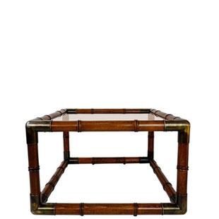 Table basse vintage en faux bambou,table basse avec coins en métal,table basse vintage carrée,table basse design italien,verre fumé