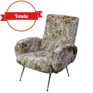 fauteuil design italien,fauteuil marco zanuso,marco zanuso,mid century,mid-century,vintage,fleuri,velours,design,lady